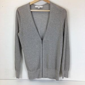 Ann Taylor LOFT Zip Up Cardigan Sweater Silver